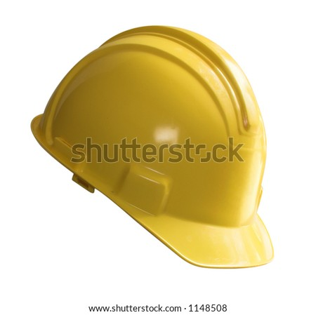 Yellow hard hat isolated on white - stock photo