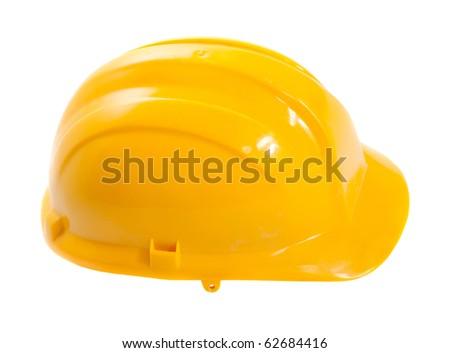 Yellow hard hat isolated on white - stock photo