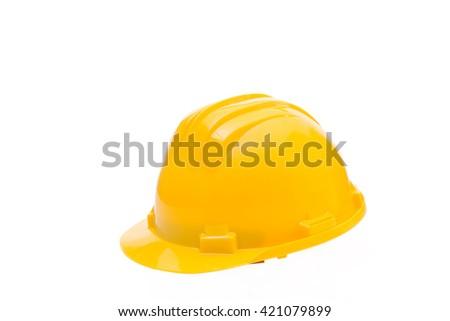 Yellow hard hat isolated on white, Construction Hard Hat  - stock photo