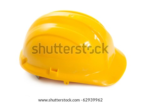Yellow hard hat on white background - stock photo