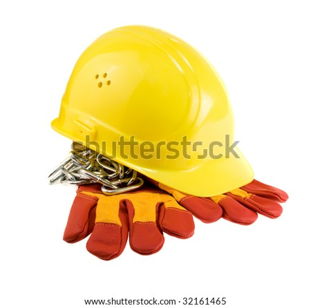 Yellow hard hat, protective gloves and steel chain isolated - stock photo