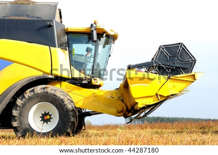 yellow harvesting combine in the field of buckwheat