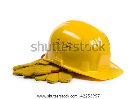 Yellow hat and gloves isolated - stock photo