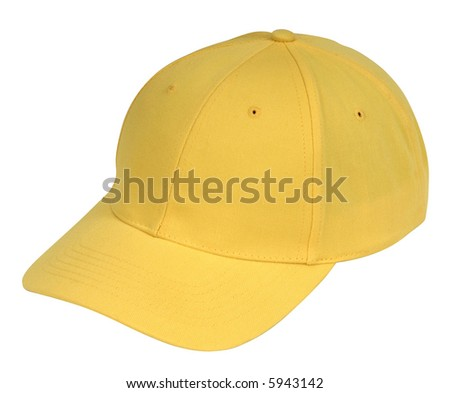 yellow hat isolated on white - stock photo