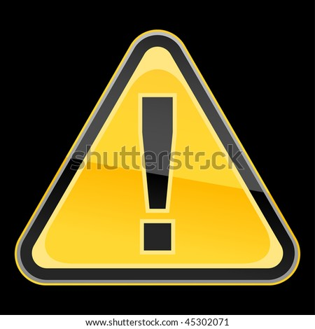 Yellow hazard warning attention sign with exclamation mark symbol on a black background. Bitmap copy my vector ID: 45696157 - stock photo