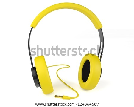 Yellow headphones 3D. Icon. Isolated on white background - stock photo