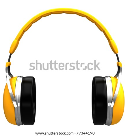 Yellow headphones isolated on a white background. - stock photo