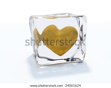 Yellow heart frozen in ice cube isolated on white - stock photo
