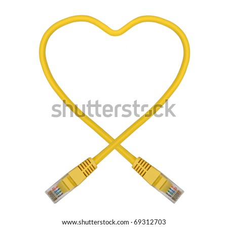 Yellow Heart Shaped Ethernet Network Cable - IT Valentine's Day