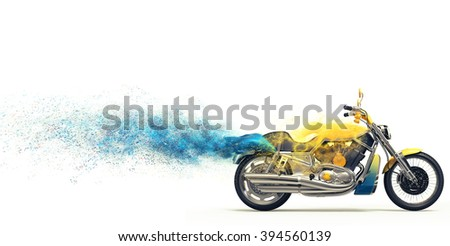 Yellow heavy bike - blue particle trails - stock photo