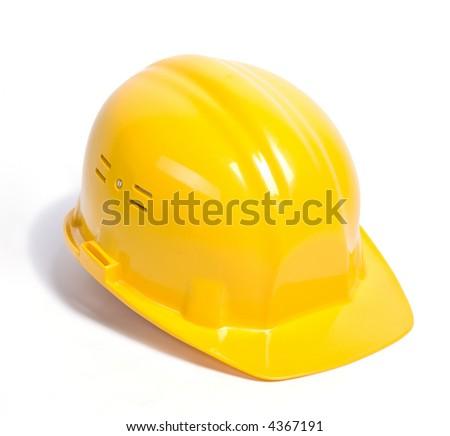 Yellow helmet isolated - stock photo