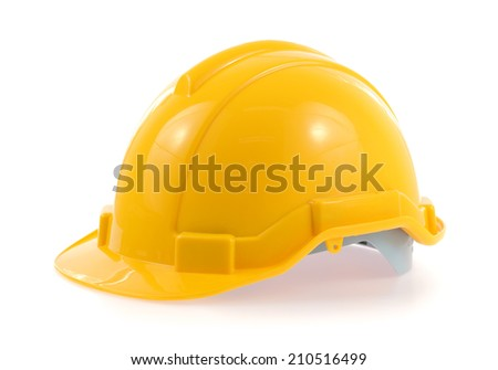 Yellow helmet isolated on a white background.