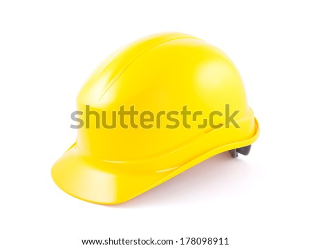 Yellow helmet isolated on white