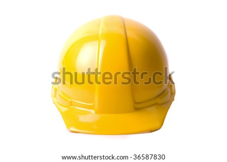 Yellow helmet isolated on white background - stock photo