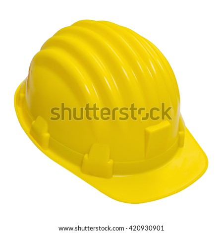 Yellow helmet isolated on white background with clipping path top view.