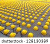 Yellow helmets composition - stock photo