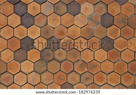 yellow hexagonal clay tile wall background, abstract wall - stock photo