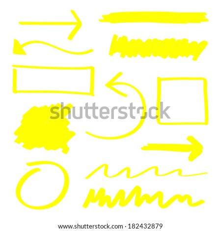 Yellow highlighter elements set - stock photo