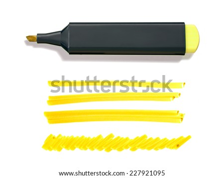 Yellow Highlighter Pen and Doodles Isolated on White Background with Real Shadow and Text Space - stock photo