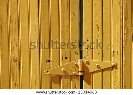 yellow hinges - stock photo