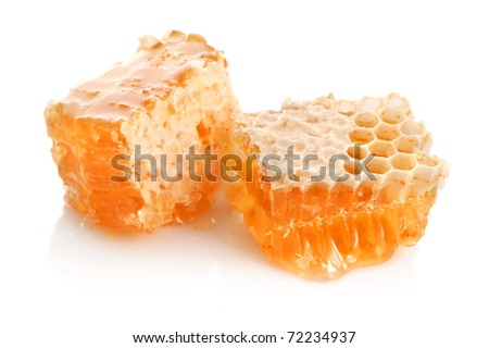 Yellow honeycomb close-up wax cell detail slice background - stock photo