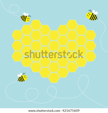 Yellow honeycomb set in shape of heart. Cute cartoon bee. Dash line in the sky. Beehive element. Honey icon. Love greeting card. Isolated. Blue background. Flat design.  - stock photo