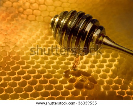 yellow honeycombs wax cell with dripper - stock photo