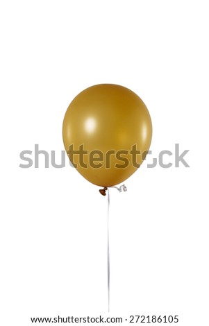 Yellow hot air flying balloon isolated on white background. - stock photo