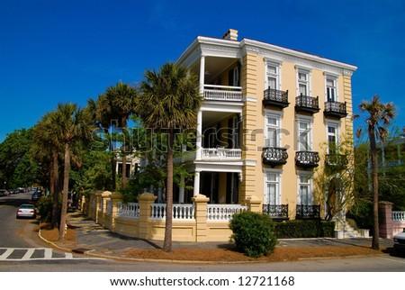 Yellow House in Charleston, SC - stock photo
