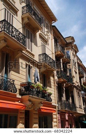 Yellow House in the south of France  with balcony - stock photo