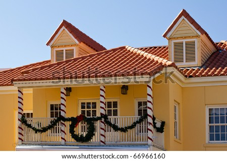 Yellow house with Christmas decoration