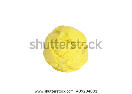 Yellow ice cream scoop with mint on white background