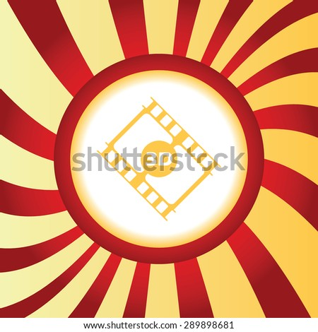 Yellow icon with film strip with text 3D, in the middle of abstract background - stock photo