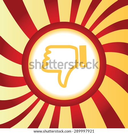 Yellow icon with image of dislike sign, in the middle of abstract background - stock photo