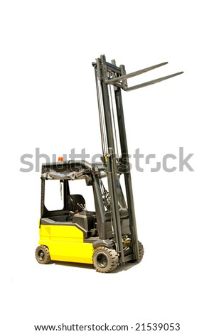 Yellow industrial fork lifter for cargo transport - stock photo