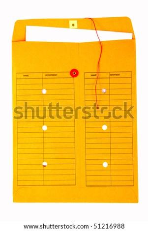 Yellow inter-office envelope - stock photo