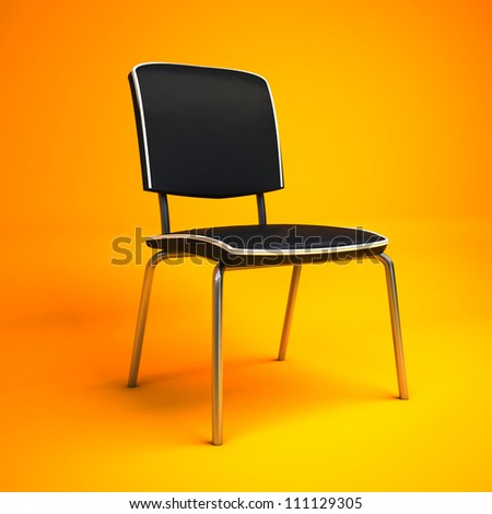 yellow interior with office chair - stock photo
