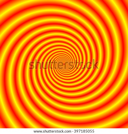 Yellow into Red via Orange Spiral / An abstract fractal image with an hypnotic spiral design in yellow, red and orange. - stock photo
