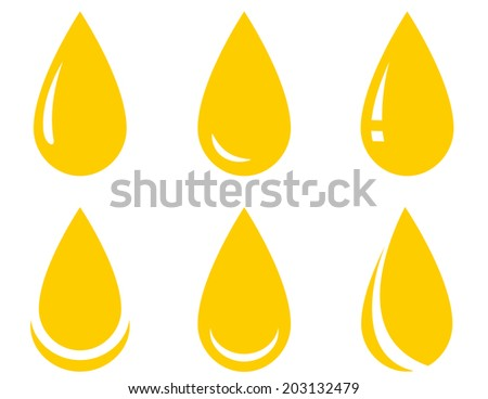 yellow isolated oil drop set on white background - stock photo
