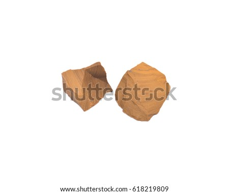 Yellow jasper chunks from Madagascar isolated on white background