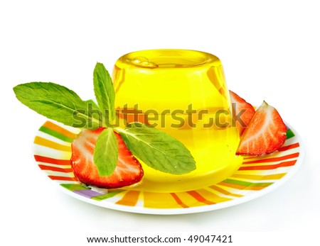 yellow jelly and strawberry - stock photo