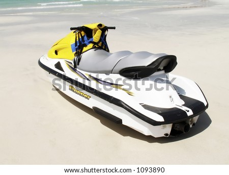 yellow jetski - stock photo