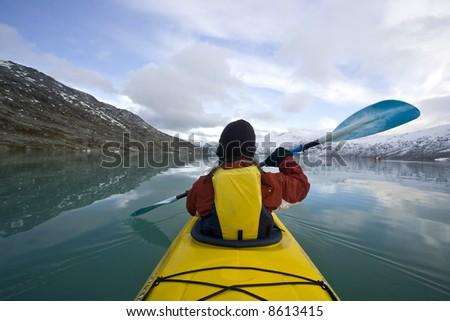 Yellow Kayak - stock photo