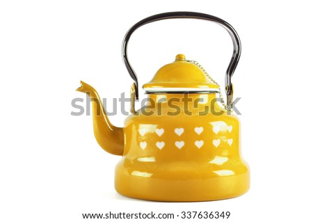 Yellow kettle isolated on white background with clipping