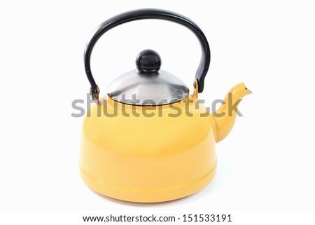 Yellow kettle isolated white background - stock photo