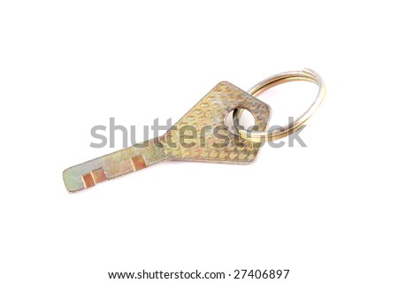 yellow key on a white background
