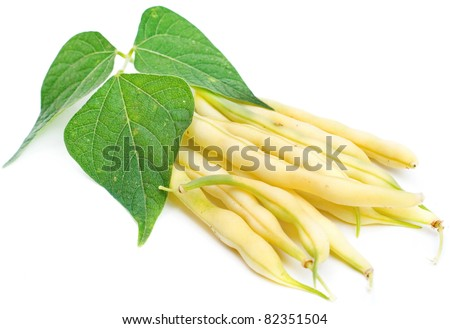 yellow kidney beans with leaf isolated on white - stock photo