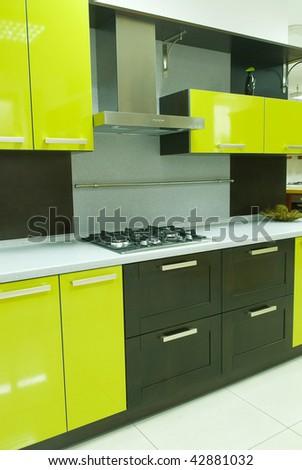 yellow kitchen - stock photo
