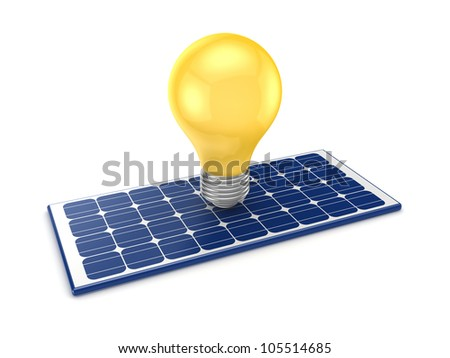 Yellow lamp and solar battery.Isolated on white background.3d rendered. - stock photo