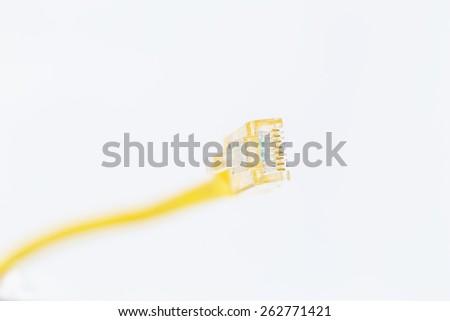 Yellow Lan Cable selective Focus  - stock photo